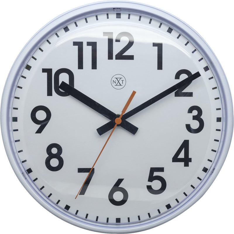 Front Picture 7308WI,Peter,Wall Clock,Step,Plastic,White,