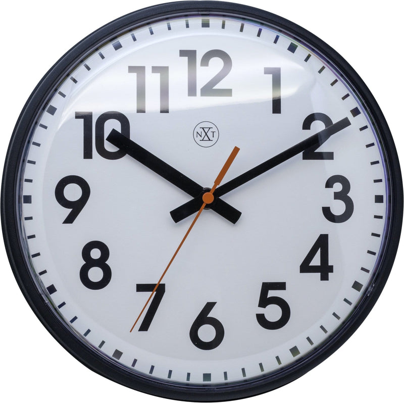 Front Picture 7308ZW,Peter,Wall Clock,Step,Plastic,Black,