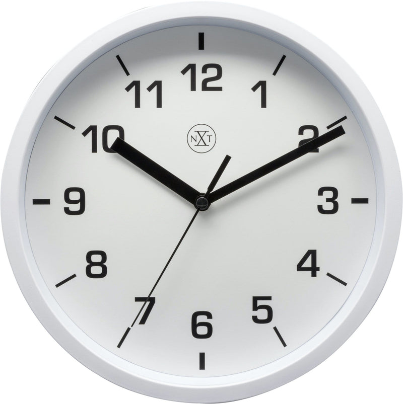 Front Picture 7321WI,Easy Small,Wall Clock,Step,Plastic,White,