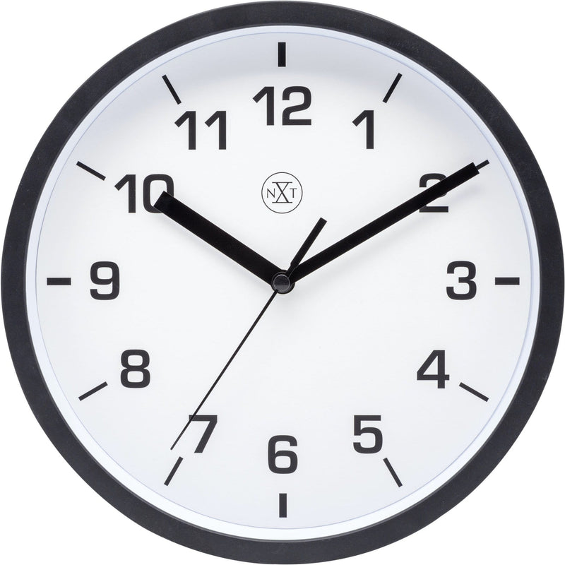 Front Picture 7321ZW,Easy Small,Wall Clock,Step,Plastic,Black,