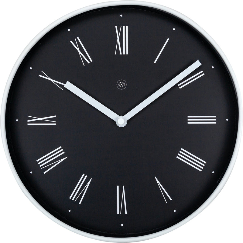 Front Picture 7324,Irving,Wall Clock,Step,Plastic,Black