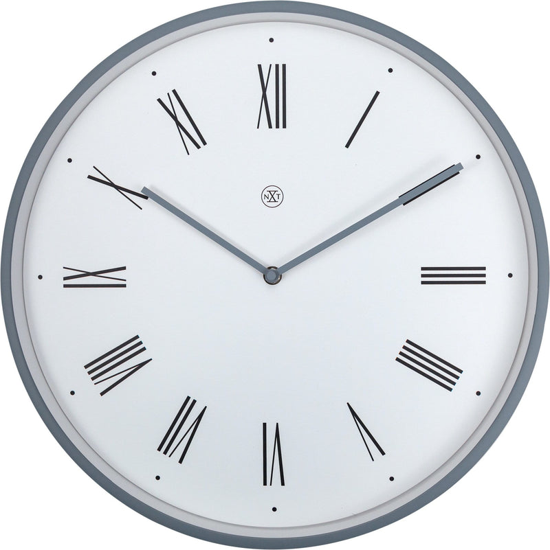Front Picture 7329WI,Duke,Wall Clock,Step,Plastic,White,