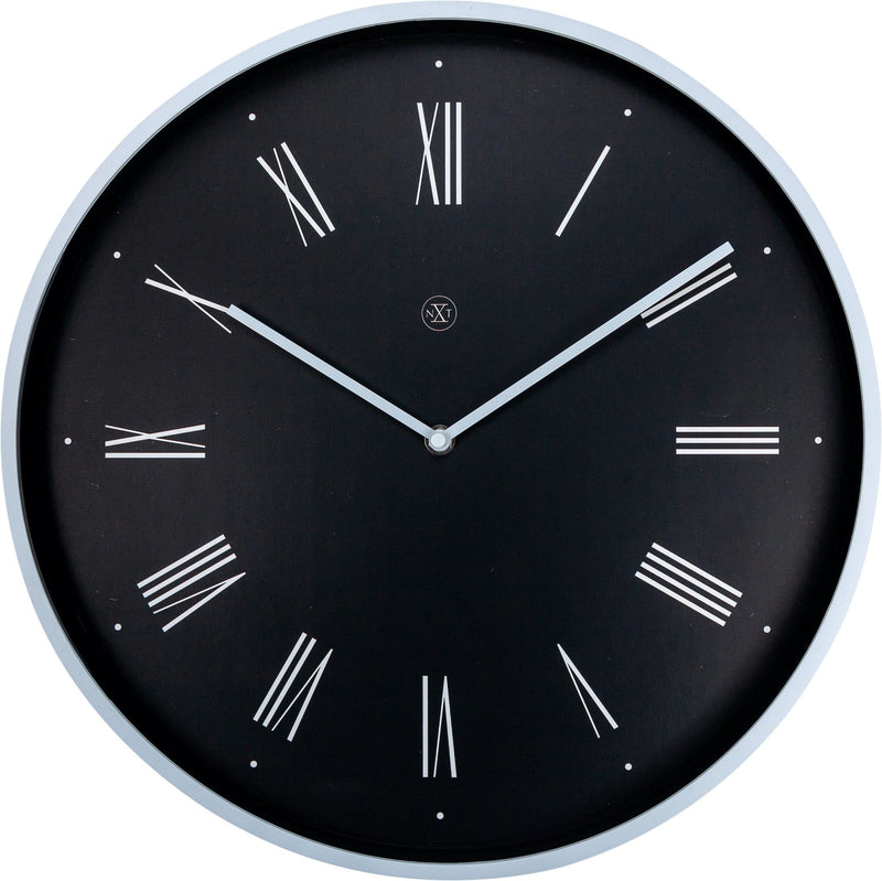 Front Picture 7329ZW,Felix,Wall Clock,Step,Plastic,Black,