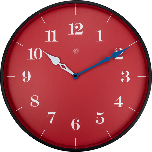 Front Picture 7330,Arthur,Wall Clock,Step,Plastic,Red