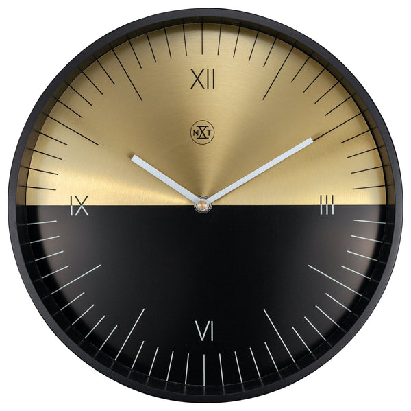 Front Picture 7335,Half,Wall Clock,Step,Aluminium,Gold/Black