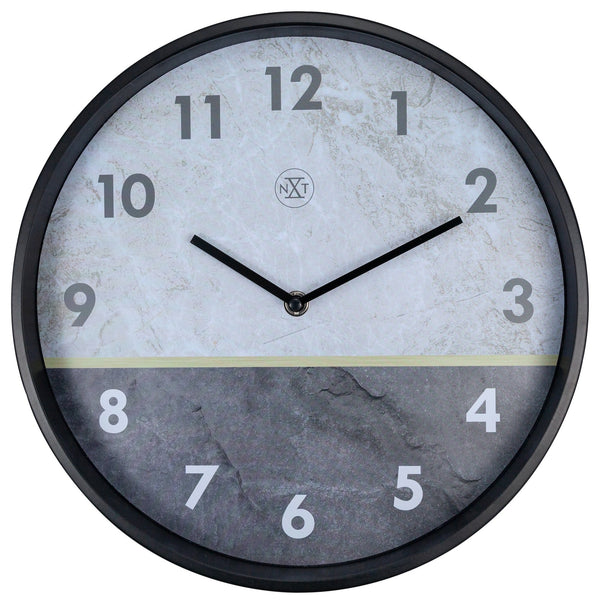 Front Picture 7338,Horizon,Wall Clock,Step,Aluminium,Black
