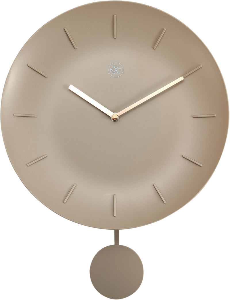 Front Picture 7339BE,Bowl,Wall Clock,Pendulum,Plastic,Off White,