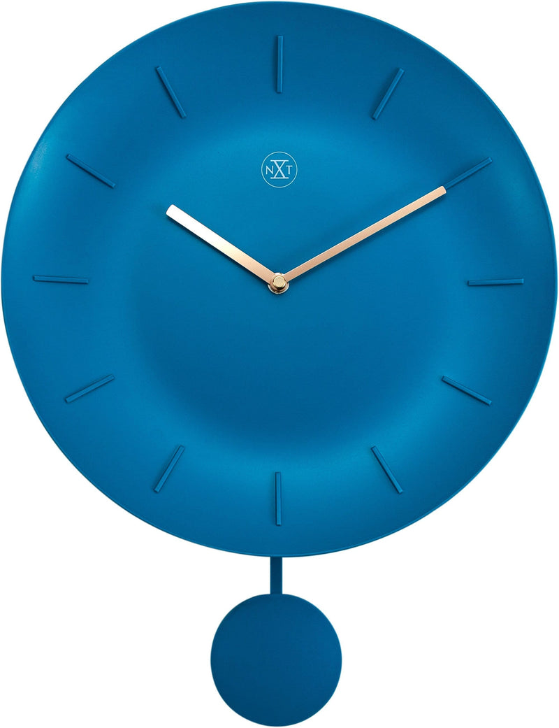 Front Picture 7339TQ,Bowl,Wall Clock,Pendulum,Plastic,Turquoise,