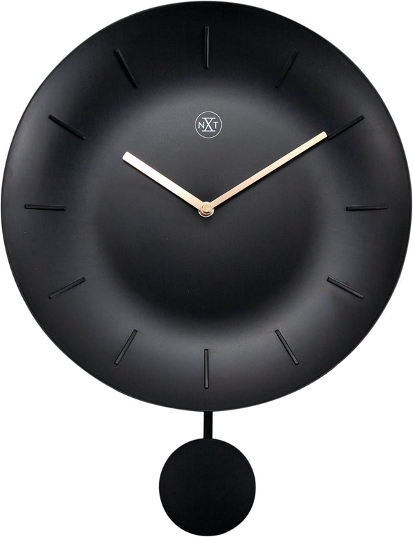 Front Picture 7339ZW,Bowl,Wall Clock,Pendulum,Plastic,Black,#color_black