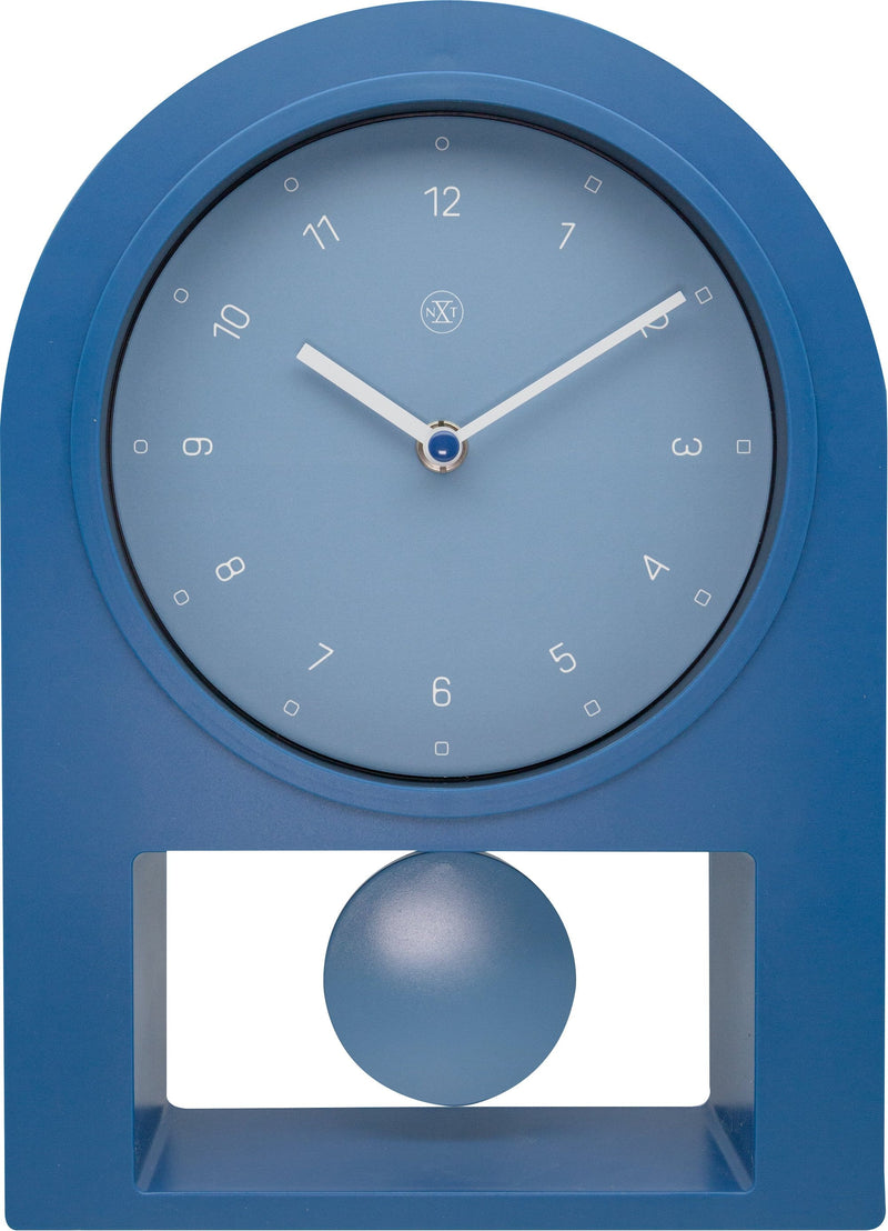 Front Picture 7340BL,Swing Table,Table Clock,Pendulum,Plastic,Petrol,