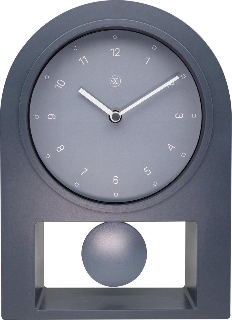 Front Picture 7340GS,Swing Table,Table Clock,Pendulum,Plastic,Grey,