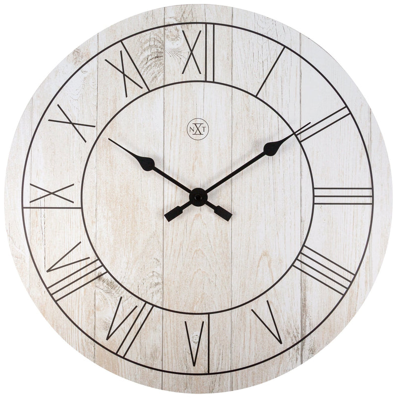 Front Picture 7345WI,Paul,Wall clock,Wood,White,