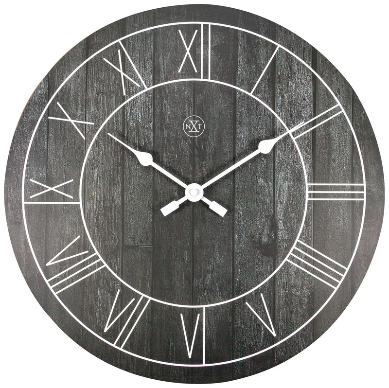 Front Picture 7345ZW,Paul,Wall clock,Wood,Black,