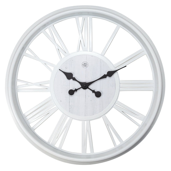 Front Picture 7346WI,Quebec,Wall clock,Plastic,White,#color_white