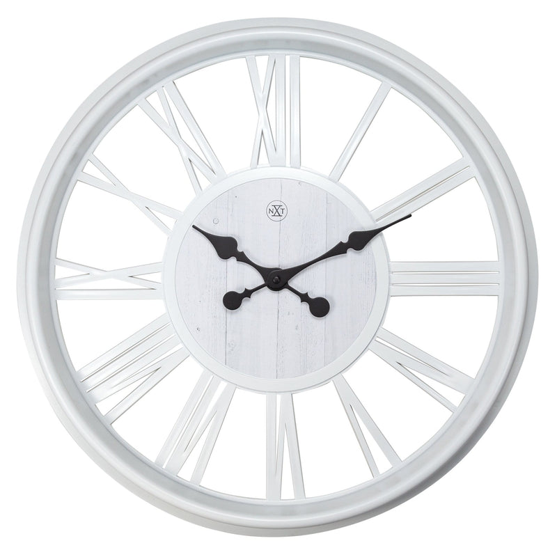 Front Picture 7346WI,Quebec,Wall clock,Plastic,White,