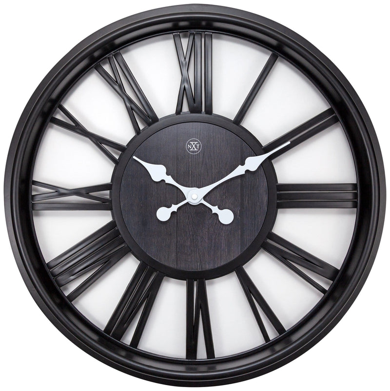 Front Picture 7346ZW,Quebec,Wall clock,Plastic,Black,