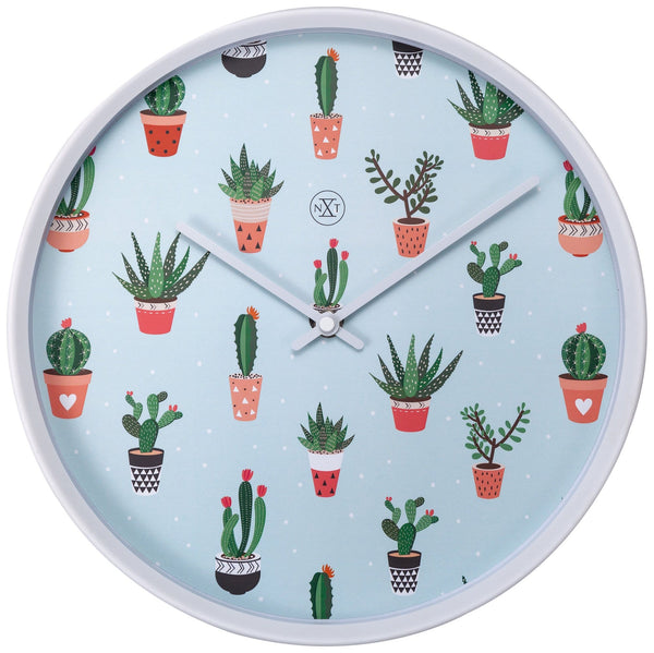 Front Picture 7348,Cactus ,Wall clock,Plastic,White