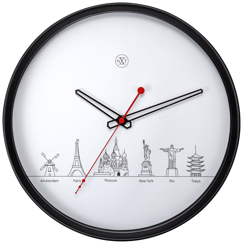 Front Picture 7350,Wordtour,Wall clock,Plastic,Black
