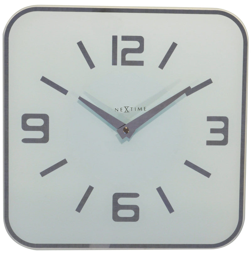 Front Picture 8149WI,Shoko,Wall clock,Silent,Glass,White,