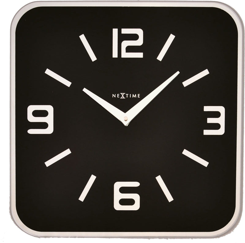 Front Picture 8149ZW,Shoko,Wall clock,Silent,Glass,Black,