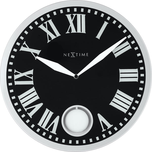 Front Picture 8161,Romana,Wall clock,Pendulum,Glass,Black,#color_black