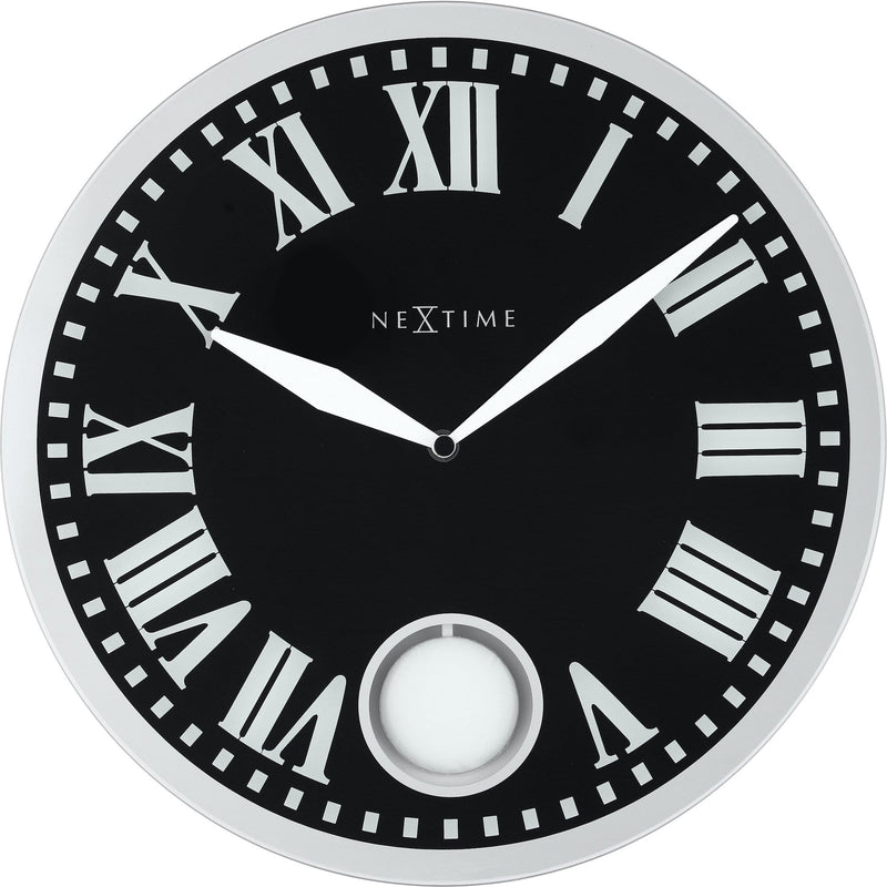 Front Picture 8161,Romana,Wall clock,Pendulum,Glass,Black,