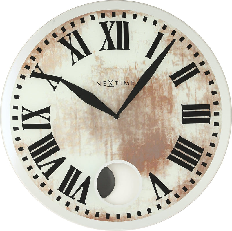 Front Picture 8162,Romana,Wall clock,Pendulum,Glass,White,