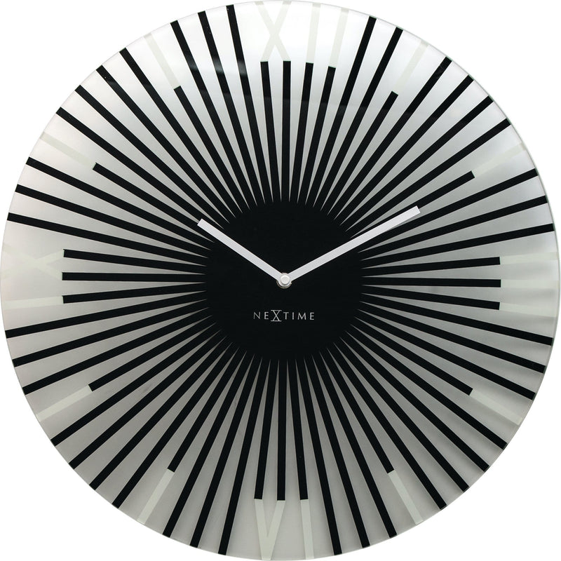 Front Picture 8175ZW,Sticks,Wall clock,Silent,Glass,Black,