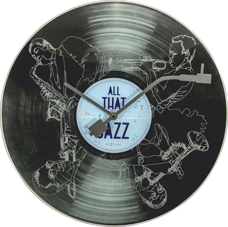 Front Picture 8184,All the Jazz,Wall clock,Silent,Glass,Black
