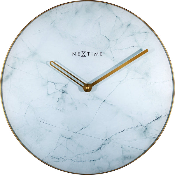 Front Picture 8189WI,Marble,Wall clock,Silent,Glass,White / Gold