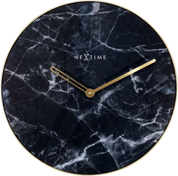 Front Picture 8189ZW,Marble,Wall clock,Silent,Glass,Black / Gold