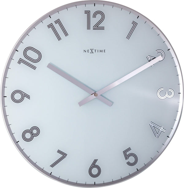 Front Picture 8190WI,Reflect,Wall clock,Silent,Glass,White,#color_white