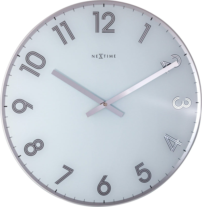 Front Picture 8190WI,Reflect,Wall clock,Silent,Glass,White,