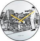 Front Picture 8191,Trumpet City,Wall clock,Silent,Glass,Whitee