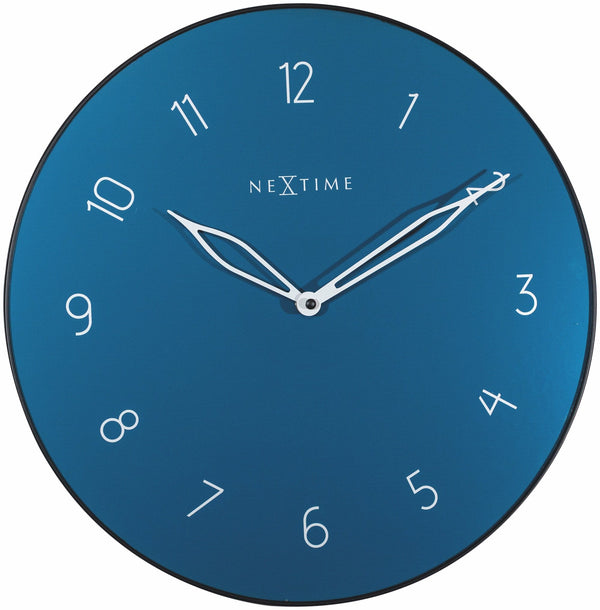 Front Picture 8193BL,Carousel,Wall clock,Silent,Glass,Blue,NeXtime