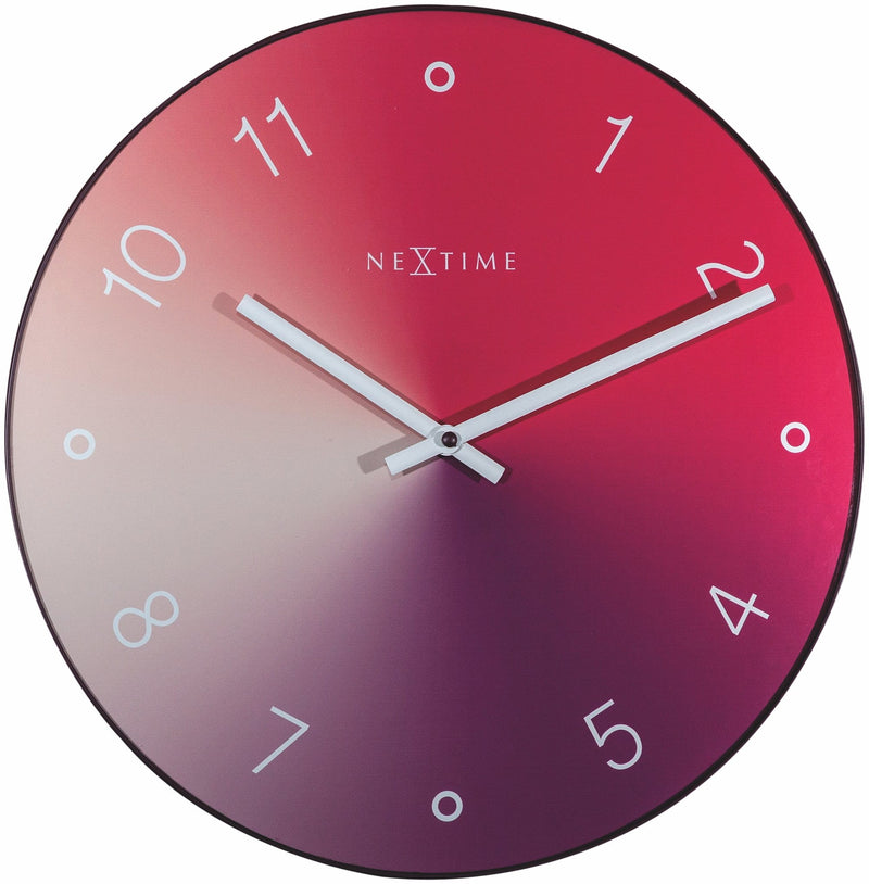 Front Picture 8194RO,Gradient,Wall clock,Silent,Glass,Red