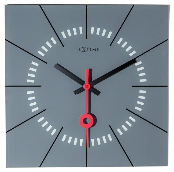 Front Picture 8636GS,Stazione,Wall clock,Silent,Glass,Grey,#color_grey