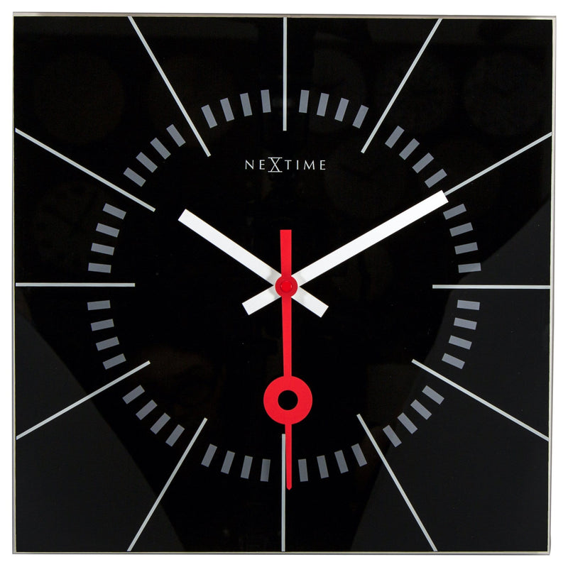 Front Picture 8636ZW,Stazione,Wall clock,Silent,Glass,Black,