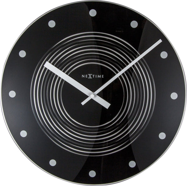 Front Picture 8638,Concentric,Wall clock,Pendulum,Glass,Black