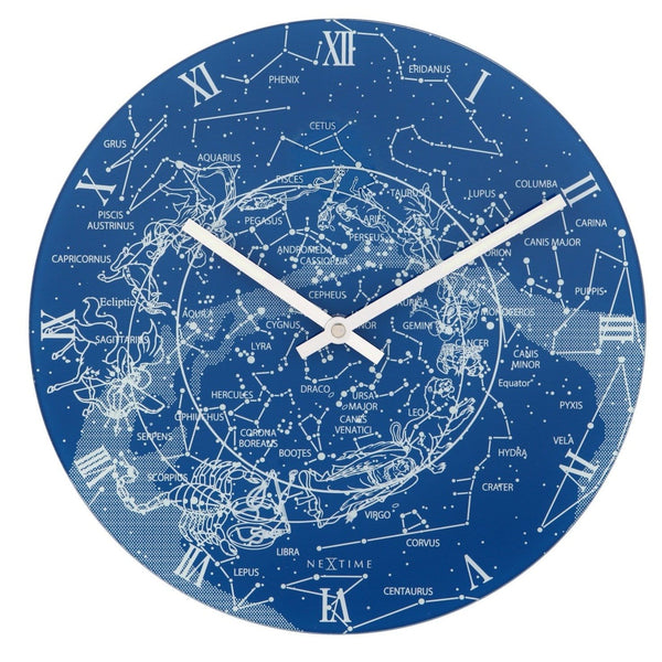 Front Picture 8814,Milky Way,Wall clock,Step,Glass,Blue