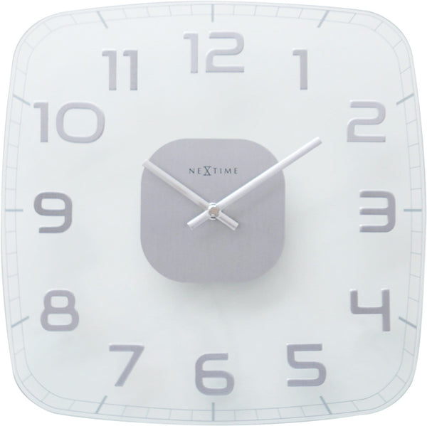 Front Picture 8816TR,Classy Square,Wall clock,Silent,Glass,Clear Glass,#color_transparent
