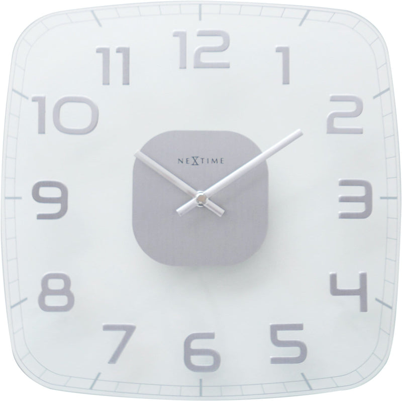 Front Picture 8816TR,Classy Square,Wall clock,Silent,Glass,Clear Glass,