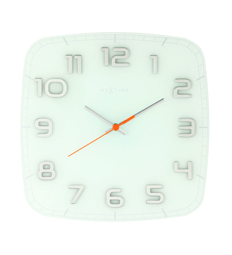 Front Picture 8816WI,Classy Square,Wall clock,Silent,Glass,White,