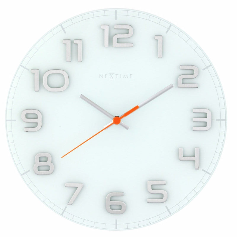 Front Picture 8817WI,Classy Round,Wall clock,Silent,Glass,