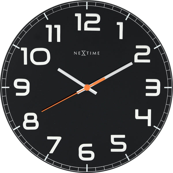 Front Picture 8817ZW,Classy Round,Wall clock,Silent,Glass,#color_black