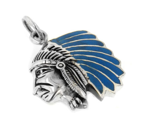 Sterling Silver Blue Indian Chief Head Charm Pendant - Silver Insanity