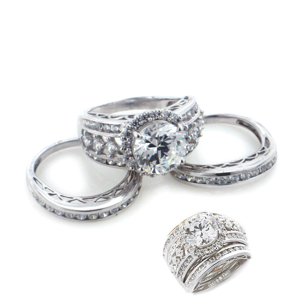 Sterling Silver 9mm CZ Wedding Ring 3-Piece Set