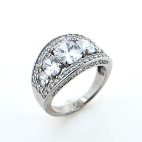 Delicate Sterling Silver 5 Stone Clear Cubic Zirconia Ring Size 7 - Silver Insanity