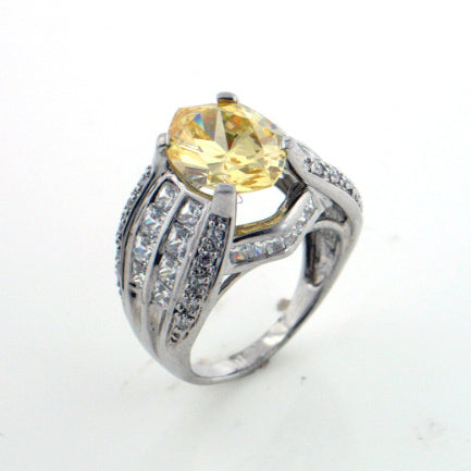Delicate Sterling Silver Canary N Clear CZ Engagement Band Ring - Silver Insanity