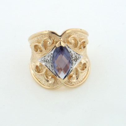 Gold over Sterling Silver Simulated Alexandrite Two Tone Ring - Silver Insanity